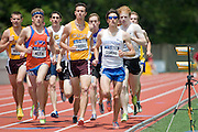 2011/05/28 - Nick Guarino of SUNY Fredonia (right, in sunglasses) leads the field in the 1500-meter final at the 2011 NCAA Division-3 Championships in Delaware, Ohio. Guarino won in 3:53.43, and later won the 800-meter run, making him the first Division-3 runner to win both events since Nick Symmonds in 2006.