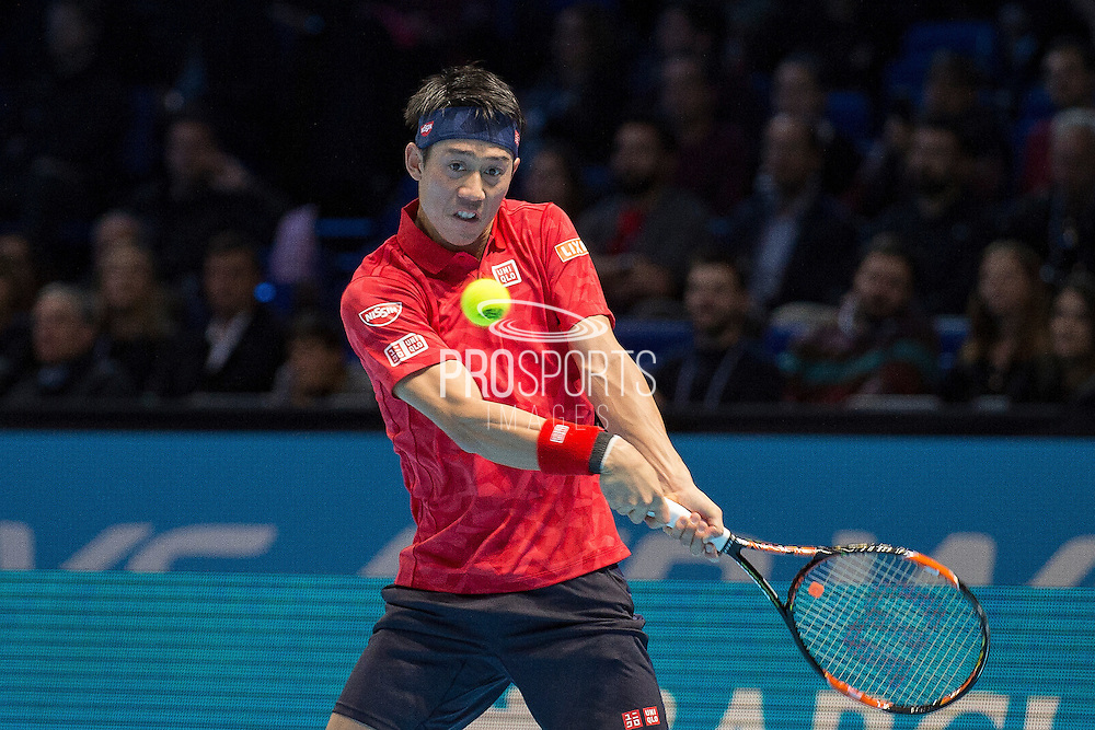 Kei Nishikori of Japan during day six of the Barclays ATP World Tour Finals at the O2 Arena, London, United Kingdom on 18 November 2016. Photo by Martin Cole.