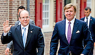 3-6-2014 - APELDOORN  -  Prince Albert II of Monaco arrives at the loo with King Willem Alexander for the opening of the exhibition of Grace Kelly in the loo. Prince Albert II of Monaco in the Netherlands for a two-day visit. COPYRIGHT ROBIN UTRECHT