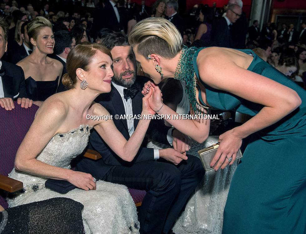 22.02.2015; Hollywood, California: 87TH OSCARS - JULIANNE MOORE and SCARLETT JOHANSSON<br /> during the Annual Academy Awards Telecast, Dolby Theatre, Hollywood.<br /> Mandatory Photo Credit: NEWSPIX INTERNATIONAL<br /> <br />               **ALL FEES PAYABLE TO: &quot;NEWSPIX INTERNATIONAL&quot;**<br /> <br /> PHOTO CREDIT MANDATORY!!: NEWSPIX INTERNATIONAL(Failure to credit will incur a surcharge of 100% of reproduction fees)<br /> <br /> IMMEDIATE CONFIRMATION OF USAGE REQUIRED:<br /> Newspix International, 31 Chinnery Hill, Bishop's Stortford, ENGLAND CM23 3PS<br /> Tel:+441279 324672  ; Fax: +441279656877<br /> Mobile:  0777568 1153<br /> e-mail: info@newspixinternational.co.uk