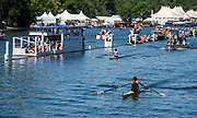 Henley on Thames, England, United Kingdom, 4th July 2019, Henley Royal Regatta, Princess Royal Challenge Cup, JL COLE-HOSSAIN,  with several lengths verdict against OM HAYES, IRL approach the finishing line, Henley Reach, [© Peter SPURRIER/Intersport Image]<br /> <br /> 14:30:14 1919 - 2019, Royal Henley Peace Regatta Centenary,