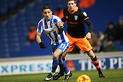 Brighton & Hove Albion winger Anthony Knockaert (11) and Sheffield Wednesday Adam Reach midfielder (9) during the EFL Sky Bet Championship match between Brighton and Hove Albion and Sheffield Wednesday at the American Express Community Stadium, Brighton and Hove, England on 20 January 2017.