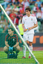 OSLO, NORWAY - Wednesday, August 5, 2009: Liverpool's Albert Riera waits for the stretcher as he limps off injured against FC Lyn Oslo during a preseason match at the Bislett Stadion. (Pic by David Rawcliffe/Propaganda)