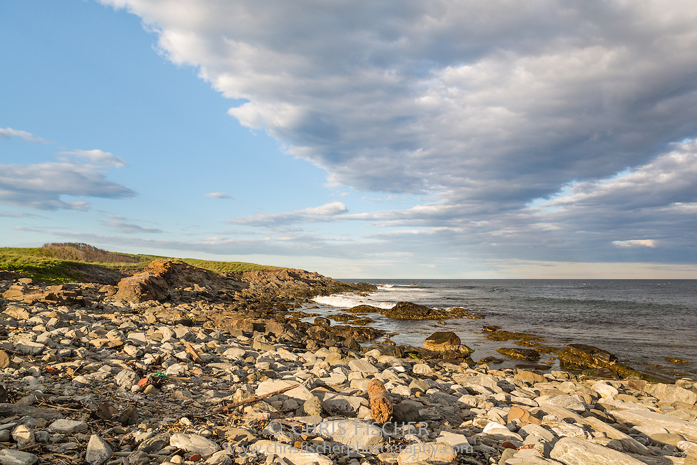 Rocky shoreline of the east side of Stratton Island, Maine.  This 24-acre island is the centerpiece of the Phineas W. Sprague Memorial Sanctuary, which is owned and run by the National Audubon Society.