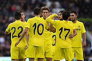 Villarreal celebrations during the Pre-Season Friendly match between Derby County and Villarreal CF at the iPro Stadium, Derby, England on 29 July 2015. Photo by Aaron Lupton.