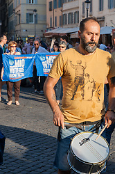 June 13, 2017 - Rome, Italy, Italy - Historical site of the Italian forum for the movements for water and many other national and local associations, the Rialto building was evicted by the Municipal Administration of Rome Capital. Some demonstrators protested on 13.06.2017 with a procession to Piazza Campo de 'Fiori. (Credit Image: © Leo Claudio De Petris/Pacific Press via ZUMA Wire)