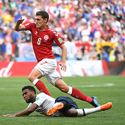 Tomas Delaney of Denmkar and Thomas Lemar of France during the FIFA World Cup Group C match between Denmark and France at Luzhniki Stadium on June 26, 2018 in Moscow, Russia. (Photo by Anthony Dibon/Icon Sport)