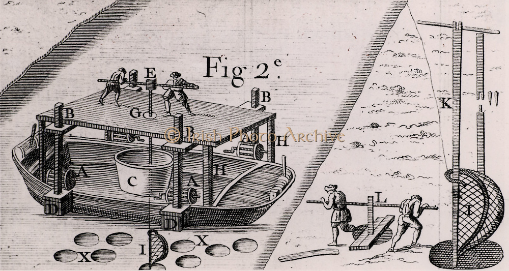 Method of deepening a canal. A number of holes are drilled close together on bed and the spoil is put the barge accompanying the drilling rig. If current was not strong enough to level out the bed of the waterway, a scraper or drum was used to do the work. The process could also be carried out by two men (L) before canal was flooded. From  'Architecture Hydraulique' by Bernard Forest de Belidor (Paris, 1737). Engraving.