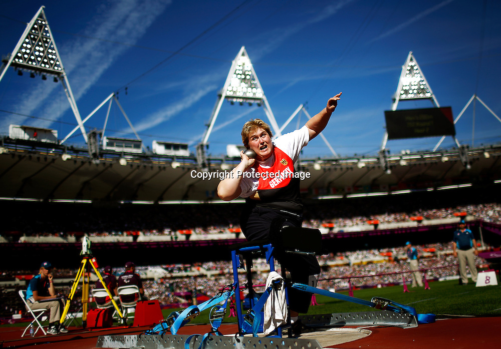 Ilke Wyludda of Germany competes in Women's Shot Put F57/58 final at Olympic Stadium during the London 2012 Paralympic Games, London, Britain, 08 September 2012.  EPA/KERIM OKTEN