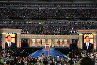 Senator Barrack Obama adress the crowd during final day of the Democratic National Convention inside the Invesco Field at Mile High in Denver, Colorado, Wednesday, August 27, 2008.