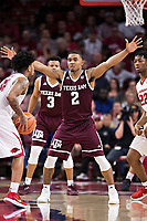 FAYETTEVILLE, AR - FEBRUARY 17:  TJ Starks #2 of the Texas A&M Aggies plays defense during a game against the Arkansas Razorbacks at Bud Walton Arena on February 17, 2018 in Fayetteville, Arkansas.  The Razorbacks defeated the Aggies 94-75.  (Photo by Wesley Hitt/Getty Images) *** Local Caption *** TJ Starks