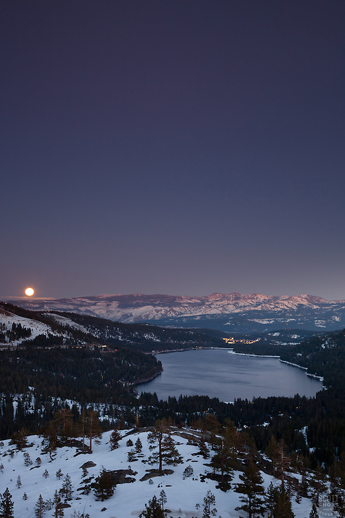 """Full Moon above Donner Lake 2"" - This rising full moon was photographed just after sunset above Donner Lake in Truckee, CA."