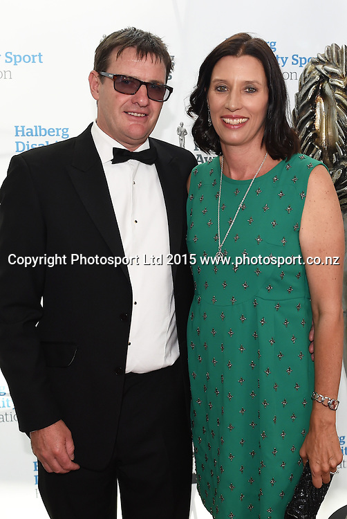 Dean Hegan and partner pose for a picture on the red carpet at the 52nd Halberg Awards. Halberg Disability Sport Foundation. Vector Arena, Auckland, New Zealand. Wednesday 11 February 2015. Copyright Photo: Andrew Cornaga / www.photosport.co.nz