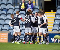 Raith Rovers Ryan McCord celebrates after scoring their first goal.<br /> Half time : Raith Rovers 2 v 0 Livingston, SPFL Ladbrokes Premiership game played 8/8/2015 at Stark's Park.
