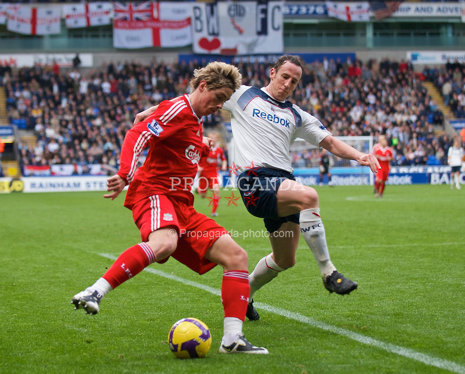 BOLTON, ENGLAND - Saturday, November 15, 2008: Liverpool's Fernando Torres about to set-up the second goal against Bolton Wanderers during the Premiership match at the Reebok Stadium. (Photo by David Rawcliffe/Propaganda)