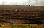 Amtrak Zephr landscape view of Illinois plowed flatlands, Cameron, Illinois