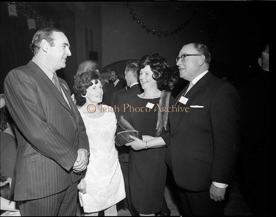 20/04/1970<br /> 04/20/1970<br /> 20 April 1970<br /> Tynagh Mines Dinner Dance at Loughrea, Co. Galway. (l-r): Pat J. Hughes, Chairman Northgate Group; Mrs B. Hogan O'Higgins T.D.; Mrs J.B. Donoghue and Mr. J.B. O'Donoghue, Loughrea.