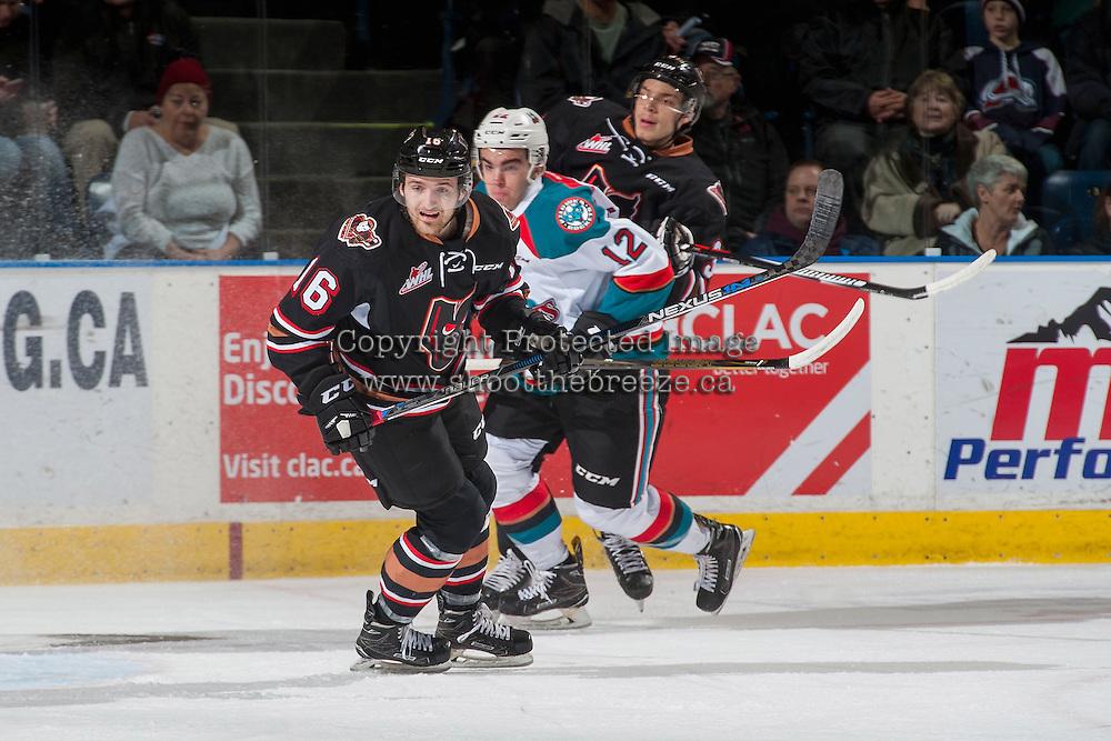 KELOWNA, CANADA - FEBRUARY 1: Jake Kryski #16 of the Calgary Hitmen skates against the Kelowna Rockets on February 1, 2017 at Prospera Place in Kelowna, British Columbia, Canada.  (Photo by Marissa Baecker/Shoot the Breeze)  *** Local Caption ***