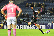 Sam Hidalgo-Clyne's boot keep Edinburgh ahead at half time during the European Rugby Challenge Cup match between Edinburgh Rugby and Stade Francais at Murrayfield Stadium, Edinburgh, Scotland on 12 January 2018. Photo by Kevin Murray.