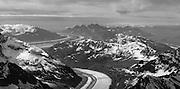 Aerial view of the Kahiltna Glacier and the Alaska Range on a sightseeing flight from Talkeetna, Alaska.