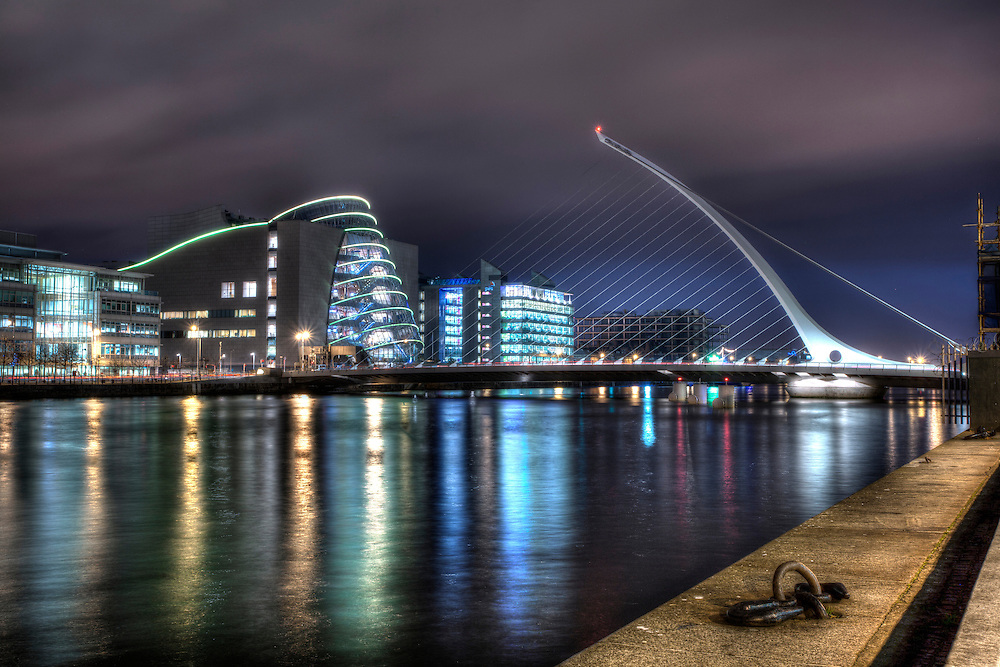 Samuel Beckett Bridge is a cable-stayed bridge in Dublin that joins Sir John Rogerson's Quay on the south side of the River Liffey to Guild Street and North Wall Quay in the Docklands area. It was designed by the spanish architect Santiago Calatrava.