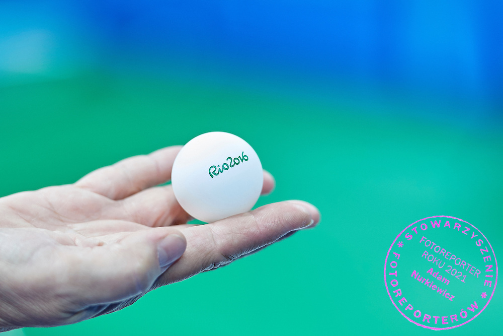 Rio de Janeiro, Brazil - 2016 September 03: Coach Elzbieta Madejska from Poland holds in her hand official ball during table tennis training session in Riocentro Pavilion 3 while 2016 Summer Paralympic Games on September 03, 2016 in Rio de Janeiro, Brazil.<br /> Rio 2016 Paralympic Games will be held from September 7 until 18.<br /> <br /> Adam Nurkiewicz declares that he has no rights to the image of people at the photographs of his authorship.<br /> <br /> Picture also available in RAW (NEF) or TIFF format on special request.<br /> <br /> Any editorial, commercial or promotional use requires written permission from the author of image.<br /> <br /> Mandatory credit:<br /> Photo by &copy; Adam Nurkiewicz / Mediasport