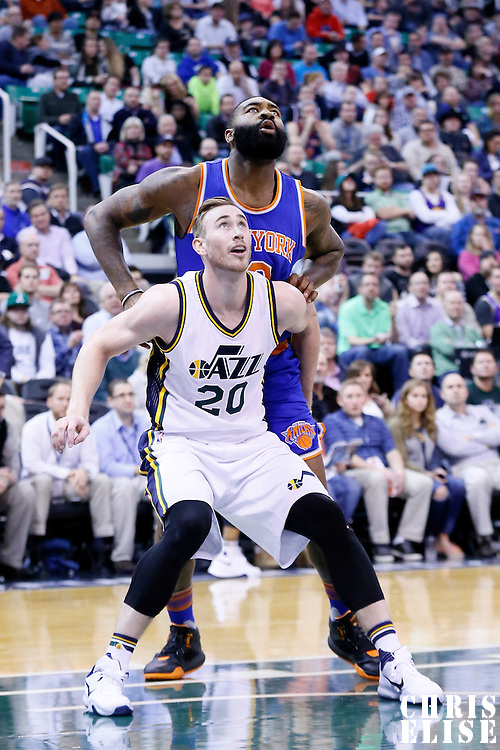 09 December 2015: Utah Jazz forward Gordon Hayward (20) vies for the rebound with New York Knicks forward Kyle O'Quinn (9) during the Utah Jazz 106-85 victory over the New York Knicks, at the Vivint Smart Home Arena, Salt Lake City, Utah, USA.