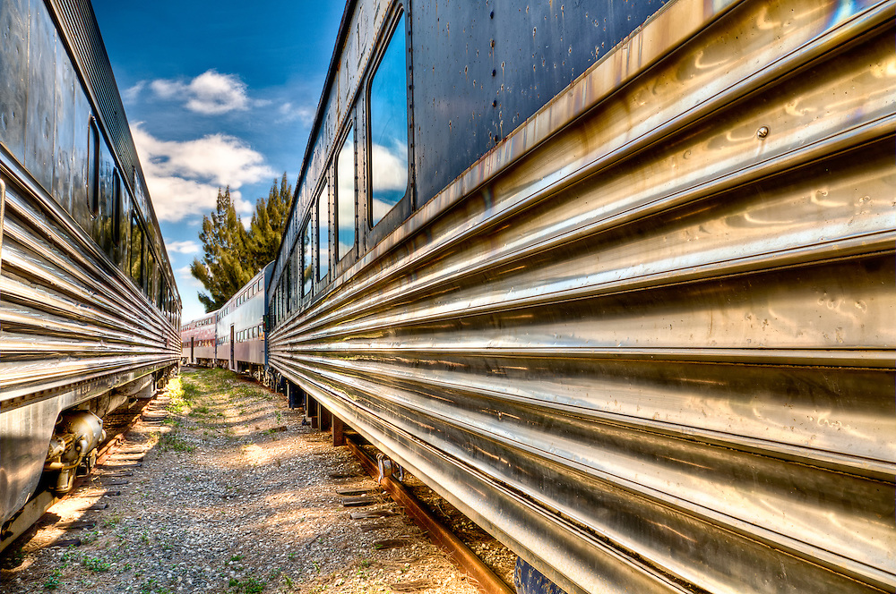 View of trains in an railway with wide angle of view.