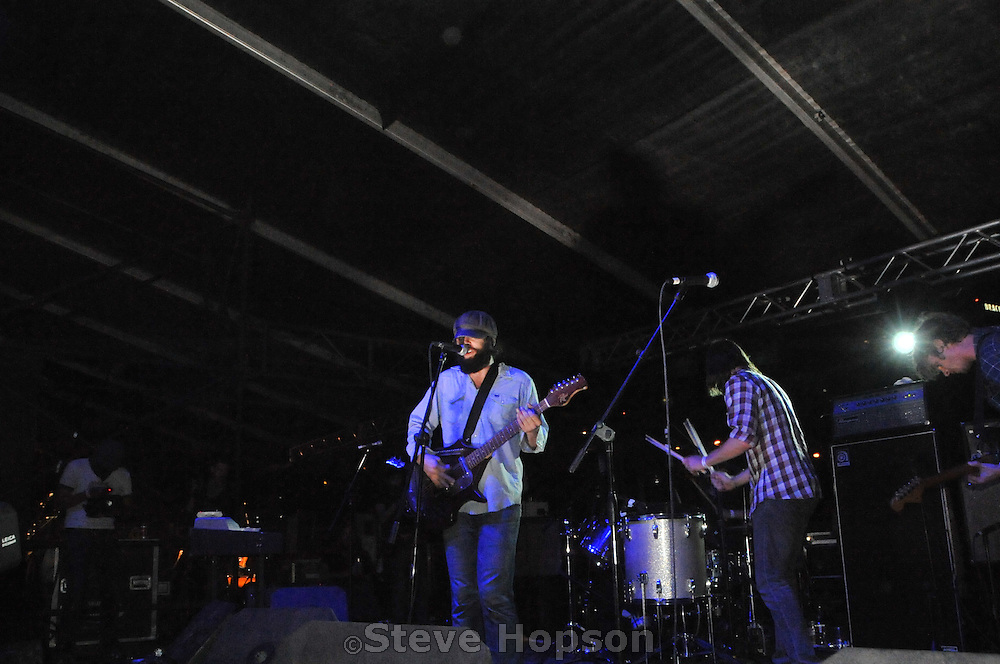 """Alex Maas of the Black Angels perform at the Fun, Fun, Fun Fest in Austin Texas, November 8, 2008.  The Black Angels are a psychedelic rock band from Austin, Texas, formed in May 2004. Their name derives from the Velvet Underground song """"The Black Angel's Death Song""""."""