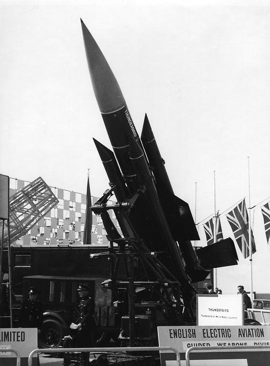 English Electric Thunderbird missile at the 1959 Farnborough airshow. Photograph by Nicholas Snowdon.