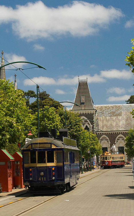 Street cars carry nostalgic tourists in Christchurch, NZ.