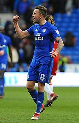 Joe Ralls of Cardiff City celebrates at the full time whistle - Mandatory by-line: Nizaam Jones/JMP - 17/02/2018 -  FOOTBALL - Cardiff City Stadium - Cardiff, Wales -  Cardiff City v Middlesbrough - Sky Bet Championship