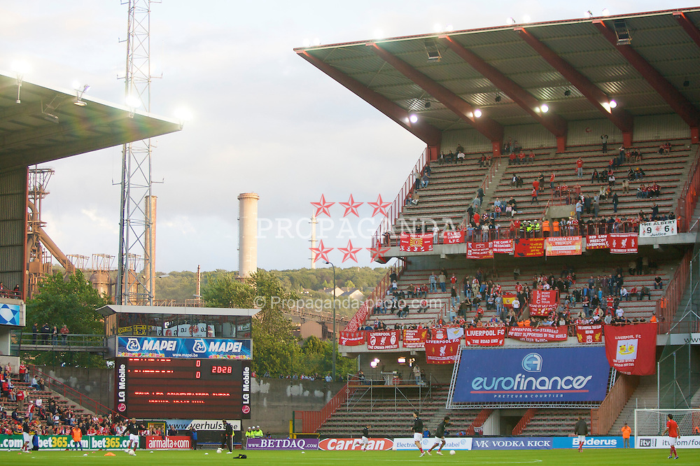 LIEGE, BELGIUM - Wednesday, August 13, 2008: Liverpool supporters begin to fill the ground before the UEFA Champions League 3rd Qualifying Round match against Royal Standard de Liege at the Stade Maurice Dufrasne. (Photo by David Rawcliffe/Propaganda)