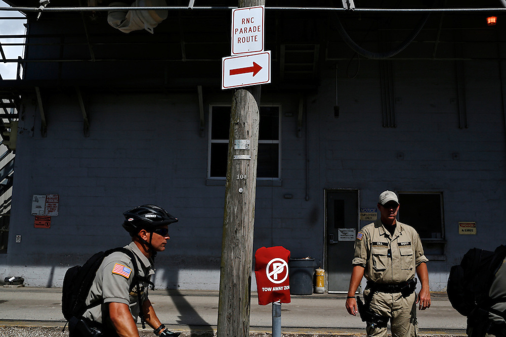 Florida law enforcement officers keep watch over a protest rally during the 2012 Republican National Convention on August 28, 2012 in Tampa, Fla. Westboro Baptisit Church members are known for their inflammatory views.