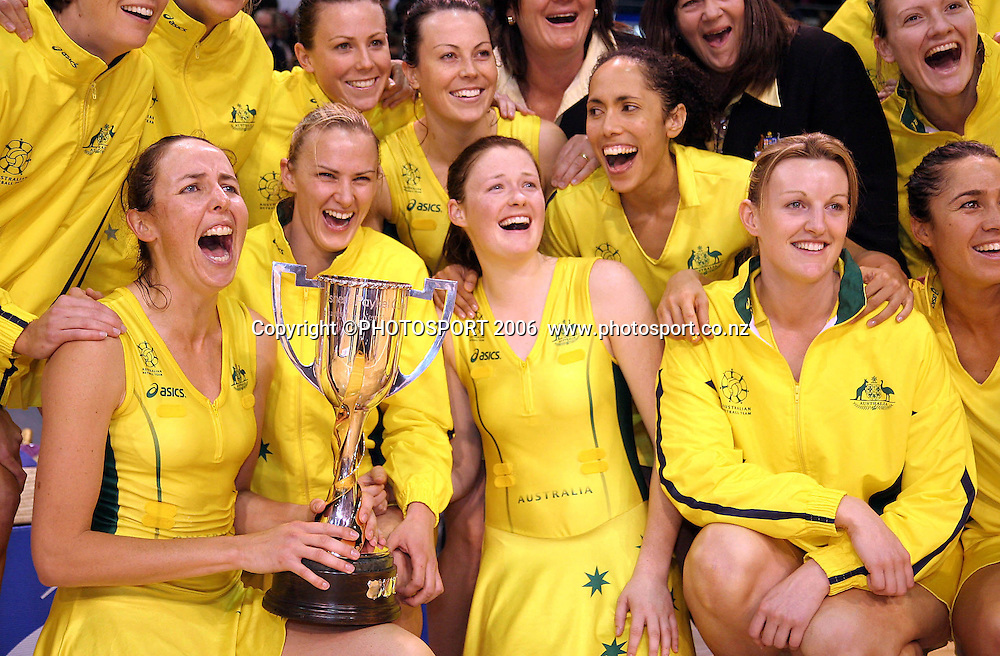 Australian Captain Liz Ellis and the Australian team with the Fisher and Paykel Series trophy after winning the Netball International test series between the New Zealand Silver Ferns and Australia at Westpac Stadium, Christchurch, New Zealand on Monday 16 October, 2006. Australia won the match 46-40 and the series 2-1. Photo: Hagen Hopkins/PHOTOSPORT