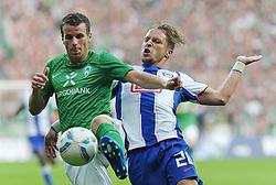 25.09.2011, Weserstadion, Bremen, GER, 1.FBL, Werder Bremen vs Hertha BSC, im Bild Lukas Schmitz (Bremen #13), Patrick Ebert (Berlin #20)..// during the match Werder Bremen vs Hertha BSC on 2011/09/25, Weserstadion, Bremen, Germany..EXPA Pictures © 2011, PhotoCredit: EXPA/ nph/  Frisch       ****** out of GER / CRO  / BEL ******