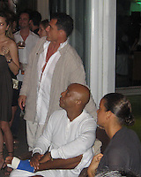 **EXCLUSIVE**.Andre Balazs, Russell Simmons & Russell's girlfriend  Porschla Coleman.Russsell Simmons Party.Carl Gustaf Hotel.St. Barth, Caribbean.Friday, December 28, 2007 .Photo By Selma Fonseca/ Celebrityvibe.com.To license this image please call (212) 410 5354; or.Email: celebrityvibe@gmail.com ;.website: www.celebrityvibe.com