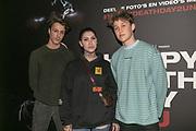 2019, Februari 12. Pathe de Munt, Amsterdam. Premiere van Happy Death Day 2U. Op de foto: Jan Konink, Jessie Maya en Jeroen van Holland