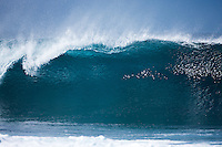 Monster north shore banzai pipeline beach wave on the famous surfing North shore of Oahu, Hawaii.