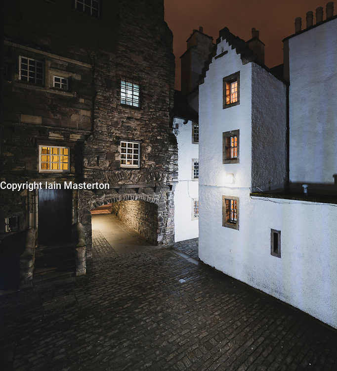 Night view of Bakehouse Close on Royal Mile in Edinburgh, Scotland UK. Location of Outlander as fictional Carfax Close. Scotland ,UK