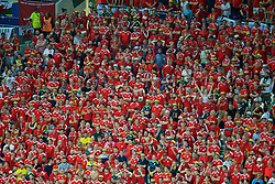LYON, FRANCE - Wednesday, July 6, 2016: Wales supporters look on during the UEFA Euro 2016 Championship Semi-Final match against Portugal at the Stade de Lyon. (Pic by Paul Greenwood/Propaganda)