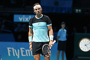 Rafael Nadal looses a game during the ATP World Tour Finals at the O2 Arena, London, United Kingdom on 20 November 2015. Photo by Phil Duncan.