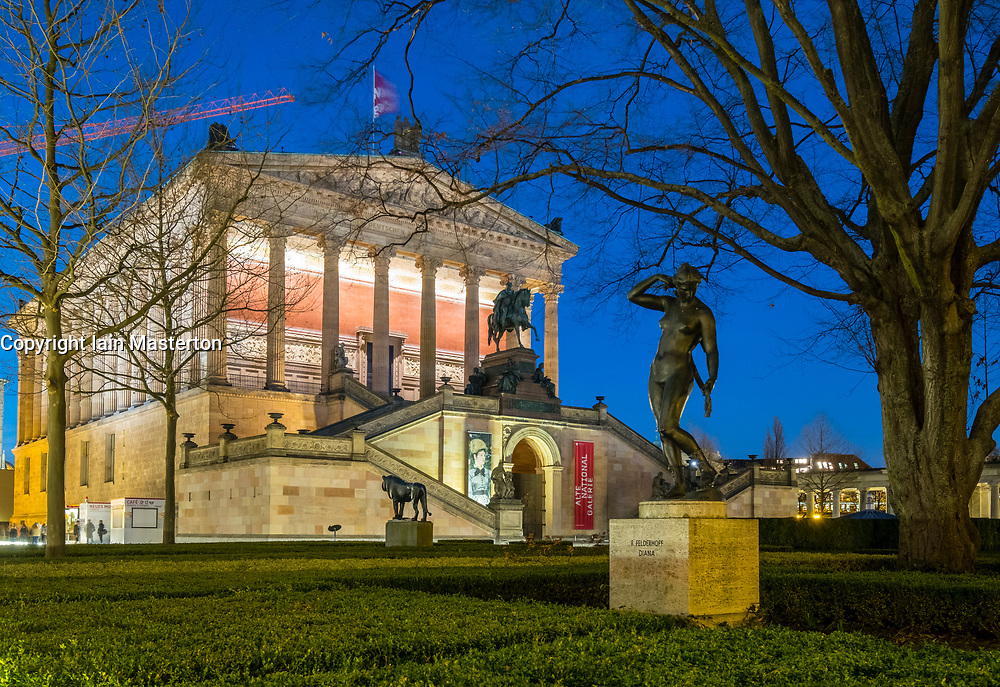 Night view of  Alte Nationalgalerie on Museumsinsel, Museum Island, UNESCO World Heritage Site, in Mitte, Berlin, Germany.