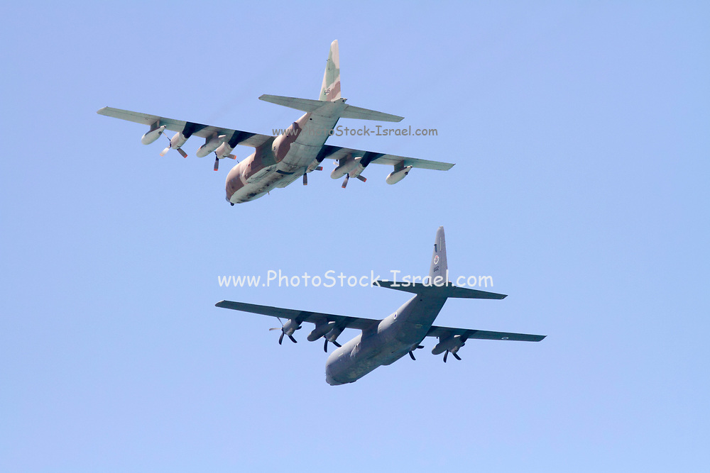 Israeli Air force C-130 Hercules 100 transport plane in flight