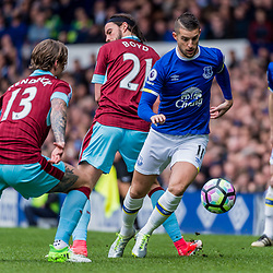 Everton forward Kevin Mirallas (11) on the ball marked by  Burnley midfielder Jeff Hendrick (13) in the Premier League match between Everton and Burnley<br /> (c) John Baguley | SportPix.org.uk
