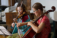 Jeffersonville, New York - World class musicians practice for a Weekend of Chamber Music concert at the Eddie Adams Barn on July 26, 2014. The event was part of the Weekend of Chamber Music's Summer Festival.