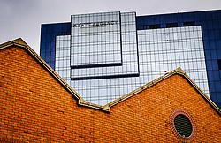 The modern Hyatt Regency hotel dwarfs old buildings by the canal in central Birmingham, England<br /> <br /> (c) Andrew Wilson | Edinburgh Elite media