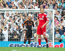 LONDON, ENGLAND - Sunday, September 18, 2011: Liverpool's goalkeeper Jose Reina looks dejected after his mistake handed Tottenham Hotspur the third goal during the Premiership match at White Hart Lane. (Pic by David Rawcliffe/Propaganda)