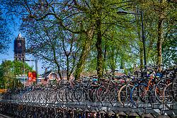 22-04-2018 NED: Provincie Utrecht in beeld, Utrecht<br /> Vele fietsen staan gestalt richting Domtoren.