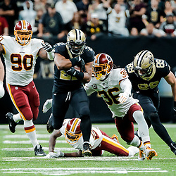 Nov 19, 2017; New Orleans, LA, USA; New Orleans Saints running back Mark Ingram (22) breaks loose on a run against the Washington Redskins during overtime of a game at the Mercedes-Benz Superdome. The Saints defeated the Redskins 34-31 in overtime. Mandatory Credit: Derick E. Hingle-USA TODAY Sports